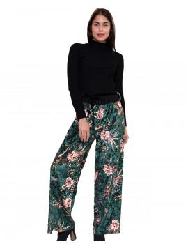 Velvet Wide-leg Trousers - Emerald Green