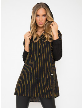 Oversized Striped Shirt Hoodie - Black