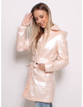 Adela Faux Leather Coat - Pearl Pink