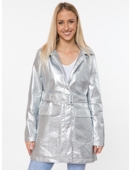 Adela Faux Leather Coat - Silver
