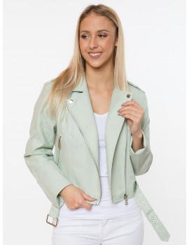 Christine Faux Leather Jacket - Mint