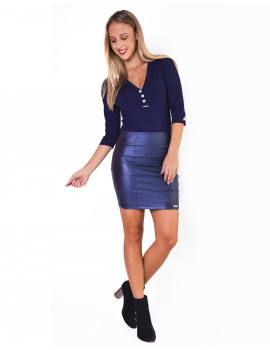 Leather Skirt - Blue