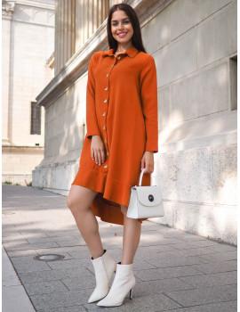 Ruffle Dress - Brown