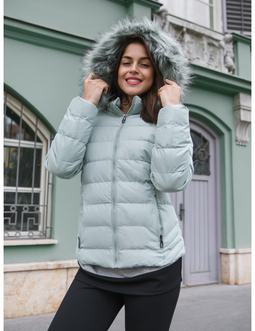 Faux Fur Puffer Coat - Mint