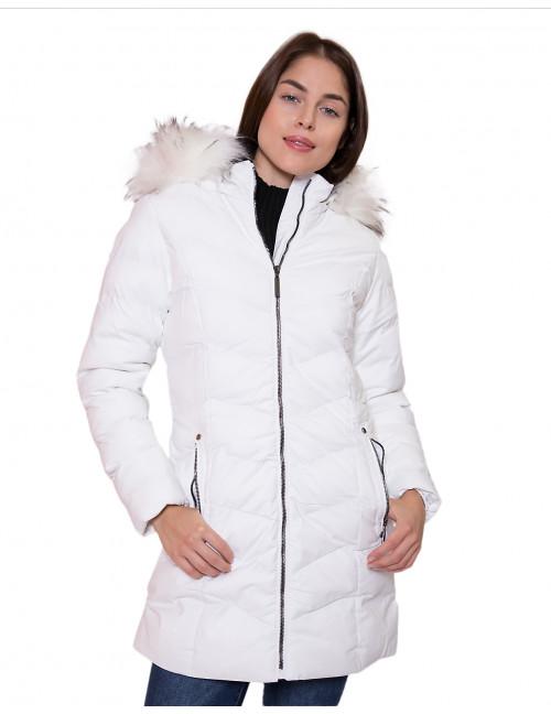 Faux Fur Long Puffer Coat - White