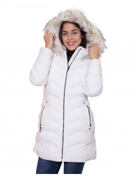 Faux Fur Long Puffer Coat - White