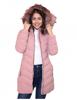 Faux Fur Long Puffer Coat - Powder