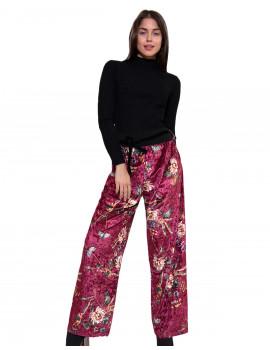 Velvet Wide-leg Trousers - Burgundy