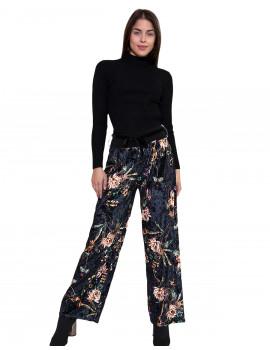 Velvet Wide-leg Trousers - Black