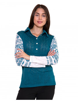 Buttoned Up Blouse - Turquoise