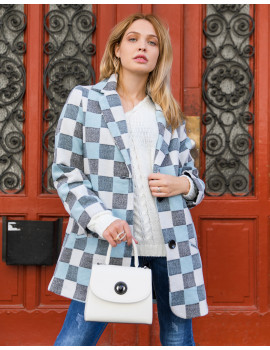 Check Print Coat - Blue