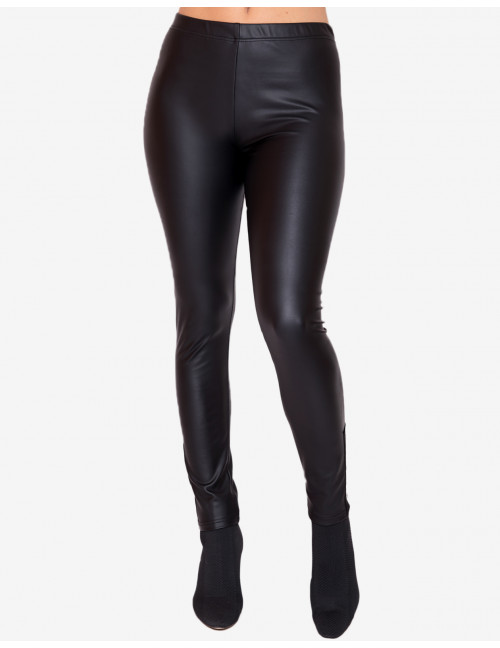 Warm Faux Leather Leggings - Black