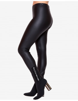 Warm Faux Leather Leggings - Black
