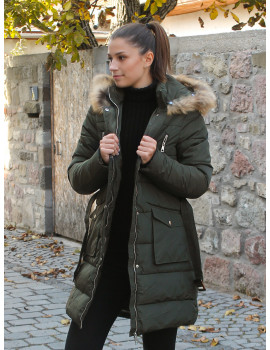 Faux Fur Hood Puffer Coat - Olive Green