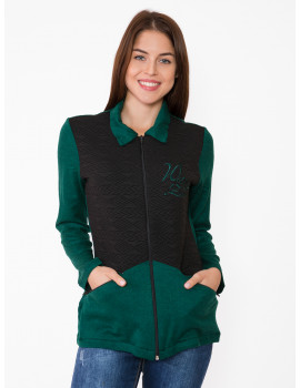 Betty Cardigan - Black-Emerald Green