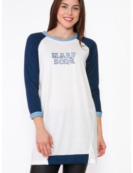 Vanessa Knit Top - Blue-White