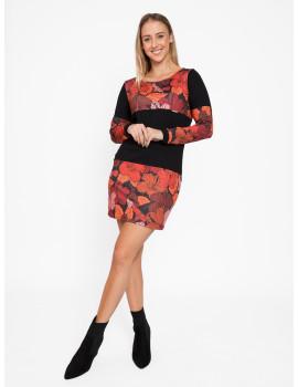 Erin Dress - Black-Red