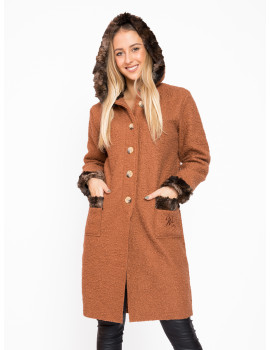 Hooded Coat - Brown