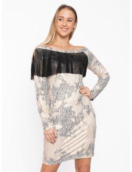 Tamala Dress - Beige-Gold