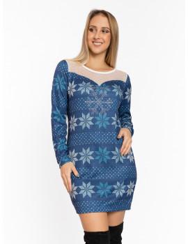 Joy Dress - Blue-White