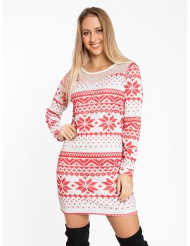 Joy Dress - White-Red