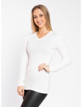 Puff Shoulder V-neck Knit Top - White
