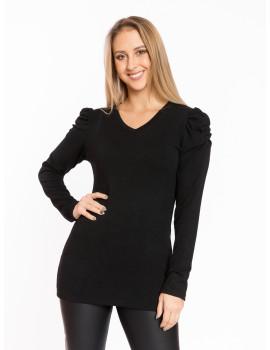 Puff Shoulder V-neck Knit Top - Black