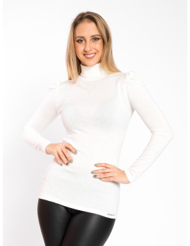 Puff Shoulder Knit Turtle Neck - White