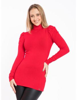 Puff Shoulder Knit Turtle Neck - Red