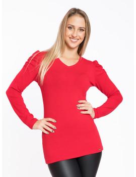 Puff Shoulder V-neck Knit Top - Red