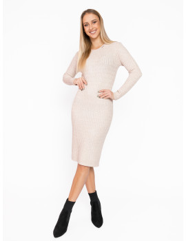 Long Sleeve Knit Dress - Beige