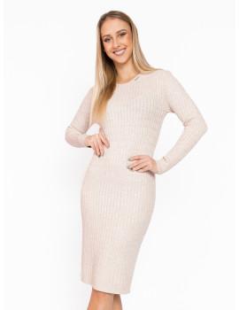 Long Sleeve Knit Dress - Beige