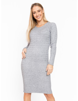 Long Sleeve Knit Dress - Grey