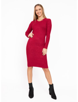 Long Sleeve Knit Dress - Burgundy