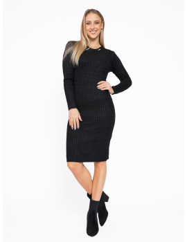 Long Sleeve Knit Dress - Black