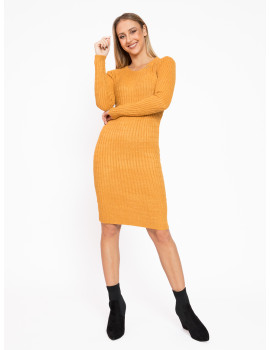 Long Sleeve Knit Dress - Ochre
