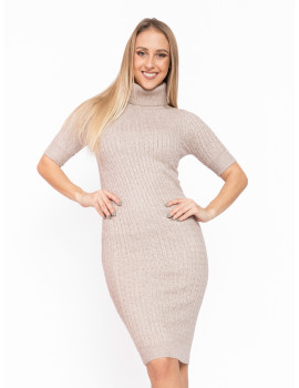 Turtleneck Knit Dress - Beige