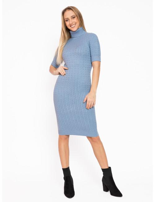 Turtleneck Knit Dress - Light Blue