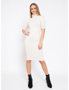 Turtleneck Knit Dress - Off White