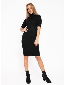 Turtleneck Knit Dress - Black