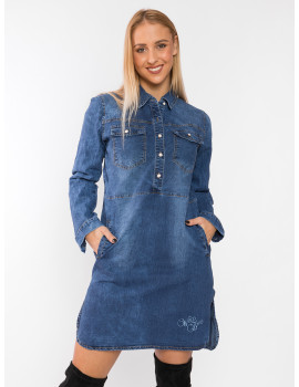 Denim Dress with Branded Embroidery