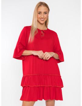 Leona Ruffle Dress - Red