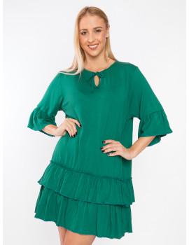 Leona Ruffle Dress - Emerald Green