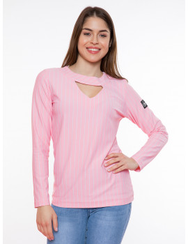 Triangle Striped Top - Light Pink