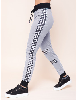 Houndstooth Joggers - Grey