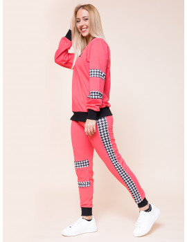 Houndstooth Joggers - Coral