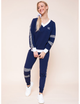 Houndstooth Joggers - Navy