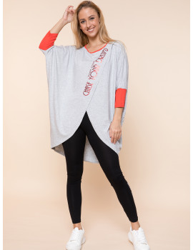 Chase Loose Top - Grey-Red