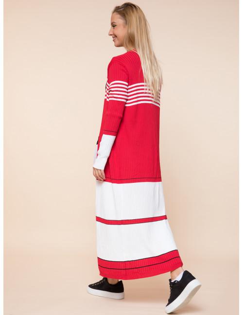 Long Light Knit Cardigan - Red