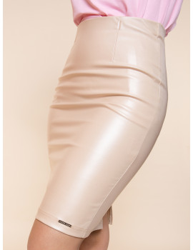 Faux Leather Pencil Skirt - Beige